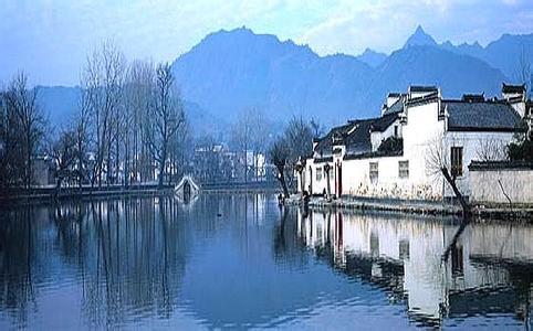 宏村水上风景手绘图